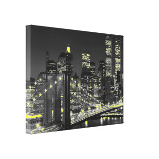 Vintage Gray Yellow New York City Wrapped Canvas
