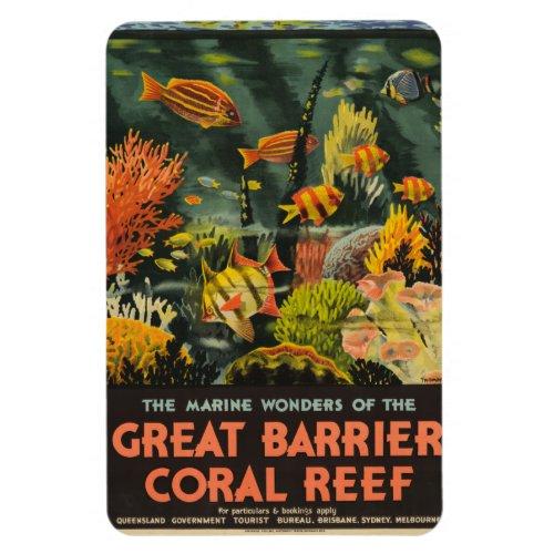 Vintage Great Barrier Reef Poster Magnet