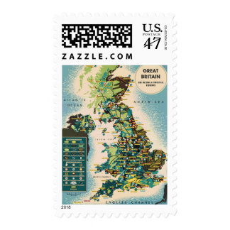 Vintage Great Britain Map Stamp