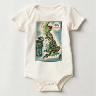 Vintage Great Britain Resources Map Baby Bodysuit