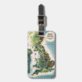 Vintage Great Britain Resources Map Bag Tag