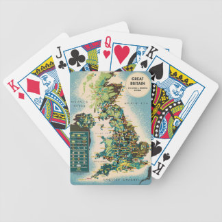 Vintage Great Britain Resources Map Bicycle Playing Cards