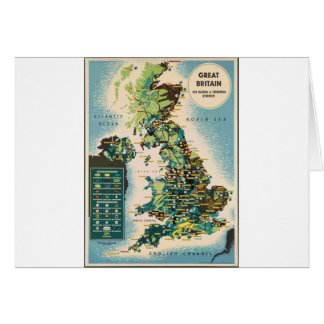 Vintage Great Britain Resources Map Card