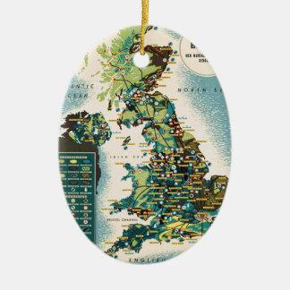 Vintage Great Britain Resources Map Ceramic Ornament