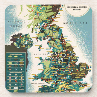 Vintage Great Britain Resources Map Drink Coaster