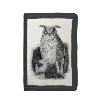 Vintage Great Horned Owl Bird Template Trifold Wallets