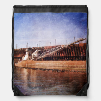Vintage Great Lakes Freighter Drawstring Backpack