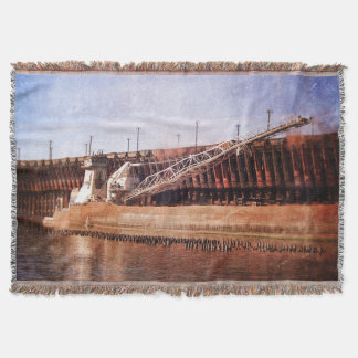 Vintage Great Lakes Freighter Throw