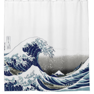 Vintage, Great Wave, Hokusai 葛飾北斎の神奈川沖浪 Shower Curtain