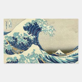 Vintage Great Wave Of Kanagawa Ukiyo-e Painting Rectangular Sticker