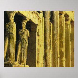 Vintage Grecia, Atenas, acrópolis, Parthenon Poster