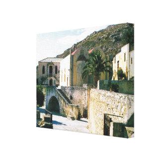 Vintage Grecia Creta Preveli monasterio Impresion En Lona