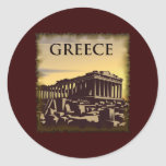 Vintage Grecia Etiqueta Redonda