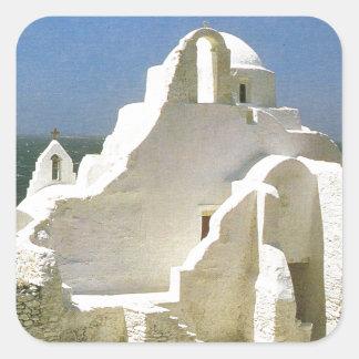 Vintage Grecia, Myconos, iglesia ortodoxa griega Pegatina Cuadradas Personalizada