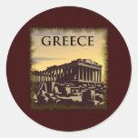 Vintage Grecia Pegatina Redonda