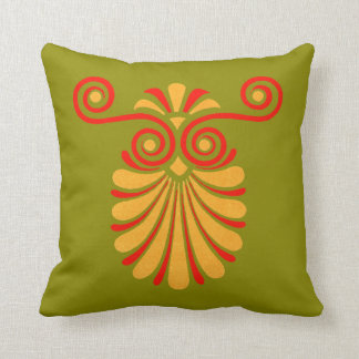 Vintage Greco-Roman Funky Owl Graphic Design Pillow