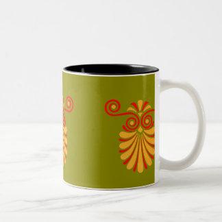Vintage Greco-Roman Funky Owl Graphic Design Two-Tone Coffee Mug