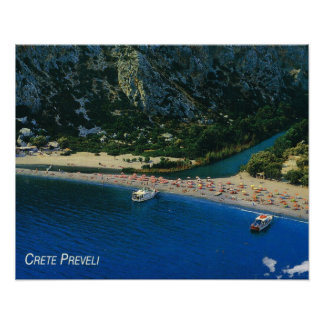 Vintage Greece, Crete, beach at Preveli Poster