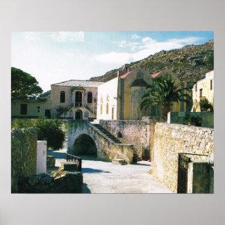 Vintage Greece, Crete, Greek Orthodox Monastery, Poster