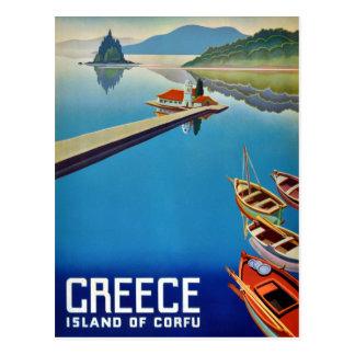Vintage Greece Isle of Corfu Travel Postcard