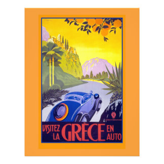 Vintage Greece Travel Poster on Cards & Notecards