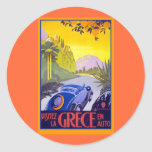 Vintage Greece Travel Poster on Cards & Notecards Round Sticker