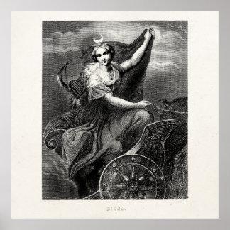 Vintage Greek Goddess Diana Artemis Roman Ancient Poster