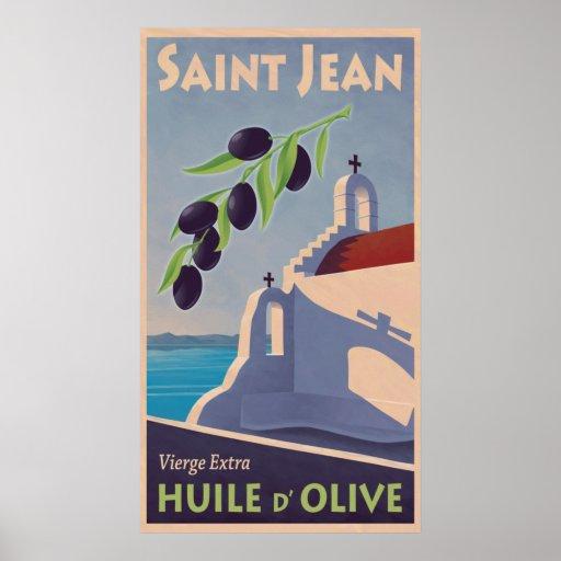 Vintage Greek Olive Oil Travel Poster