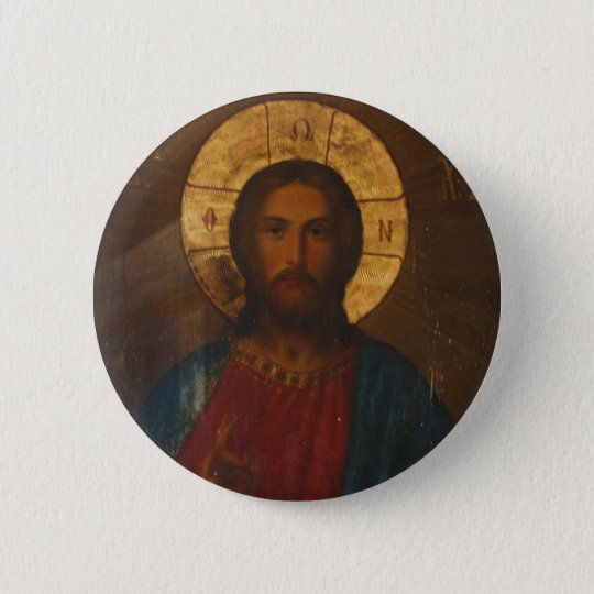 VINTAGE GREEK ORTHODOX ICON PINBACK BUTTON