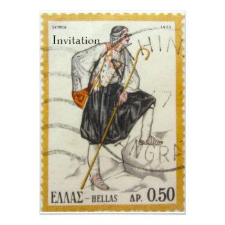 Vintage Greek Stamp Invitation