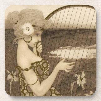 Vintage Greek Virgin With Harp Coasters