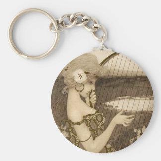 Vintage Greek Virgin With Harp Key Chain