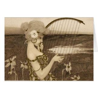 Vintage Greek Virgin With Harp Note Card