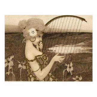 Vintage Greek Virgin With Harp Postcard
