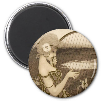 Vintage Greek Virgin With Harp Stickers 2 Inch Round Magnet