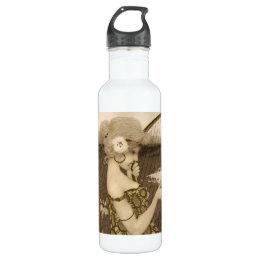 Vintage Greek Virgin With Harp Water Bottle