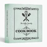 Vintage Green Aged Paper Family Cookbook 3 Ring Binder