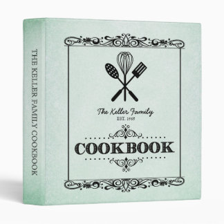 Vintage Green Aged Paper Family Cookbook 3 Ring Binder