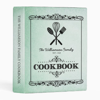 Vintage Green Aged Paper Family Cookbook Mini Binder