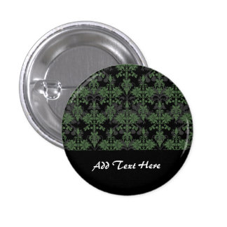 Vintage Green and Black Damask 1 Inch Round Button