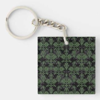 Vintage Green and Black Damask Keychain