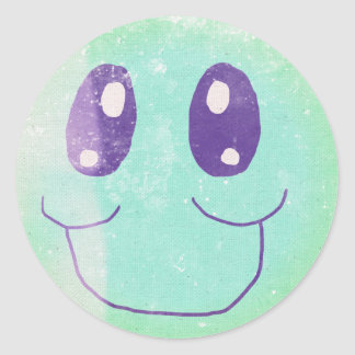 Vintage Green and Blue  Smiley Face Sticker