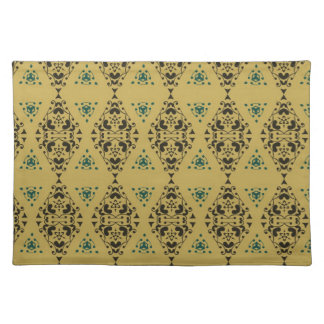 Vintage Green and Gold Abstract Floral Damask Cloth Placemat