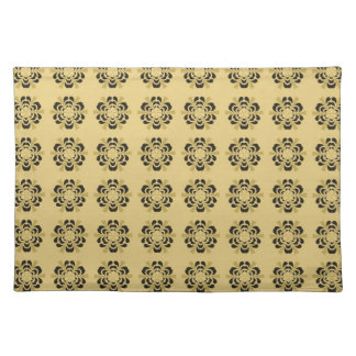 Vintage Green and Gold Abstract Floral Damask Cloth Place Mat