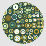 Vintage Green and White Fifties Abstract Art Classic Round Sticker