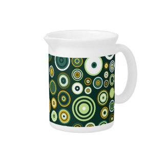 Vintage Green and White Fifties Abstract Art Beverage Pitchers