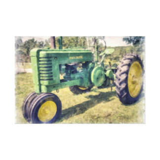 Vintage Green and Yellow Tractor Watercolor Canvas Print