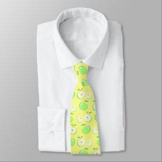 vintage green apple pattern, yellow background tie