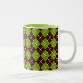 Vintage Green Argyle Mug