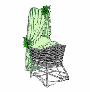Vintage Green Baby Bassinet Cut Outs